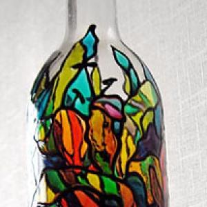 Peinture sur bouteille de vin